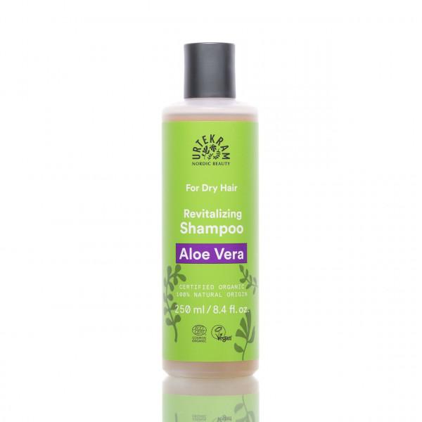 Urtekram Shampoo Aloe Vera gegen trockenes Haar 250ml Frontalansicht der Flasche