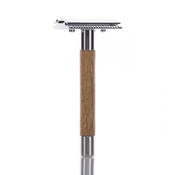 RMK Solingen Rasierhobel mit Griff aus Eichenholz, geschlossener Kamm, Double Edge 1