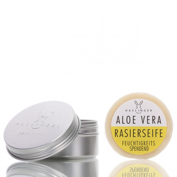 Haslinger Seifen & Kosmetik Rasierseife Aloe Vera in Dose 60g 1