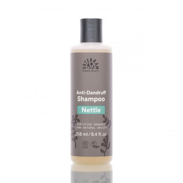 Urtekram Shampoo Brennnessel gegen Schuppen 250ml Frontalansicht der Flasche