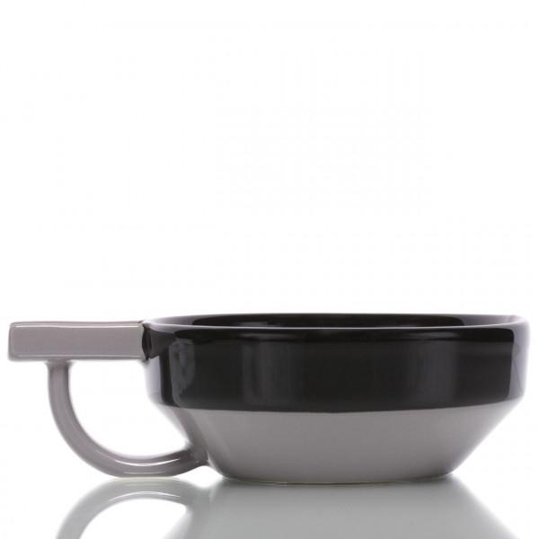 Fine Rasierschale aus Keramik, grau-schwarz 1