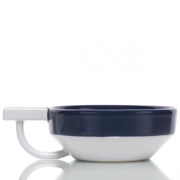 Fine Rasierschale aus Keramik, weiß-blau 1
