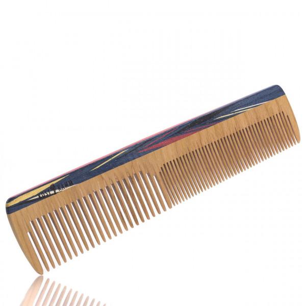 Frisierkamm mit buntem Holzrücken (mittel und fein) Ansicht vom Kamm leicht schräg