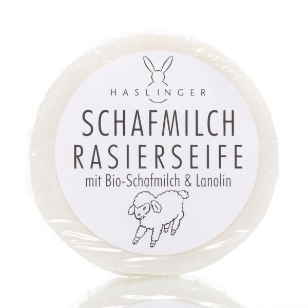 Haslinger Rasierseife Schafmilch 60g Frontalansicht der Rasierseife