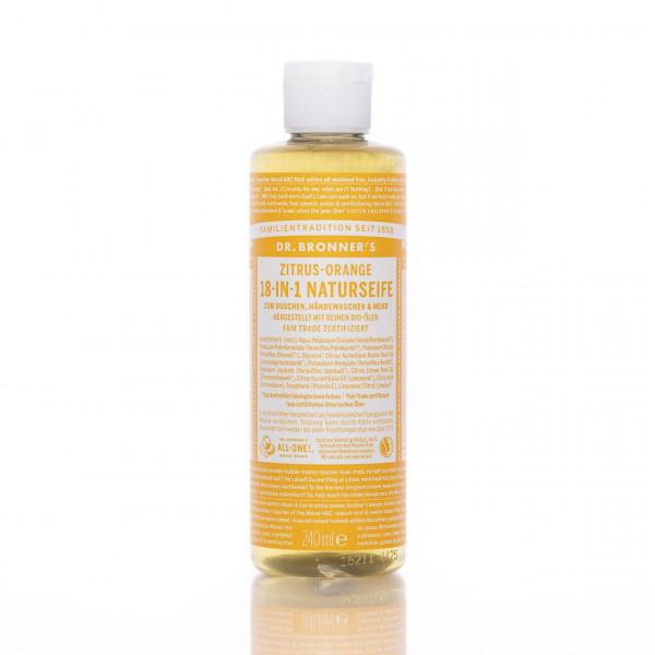 Dr. Bronner's Flüssigseife 18-in-1 Naturseife Zitrus Orange 240ml