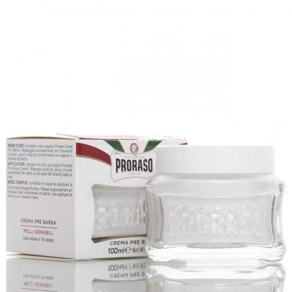 Proraso Pre Shave Creme Sensitive 100ml Frontalansicht der Dose mit Verpackung