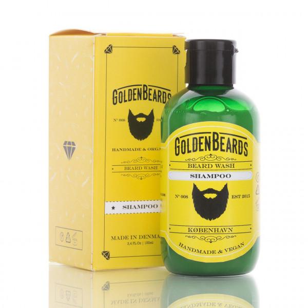 Golden Beards Bartshampoo 100ml Frontalansicht der Flasche mit Verpackung