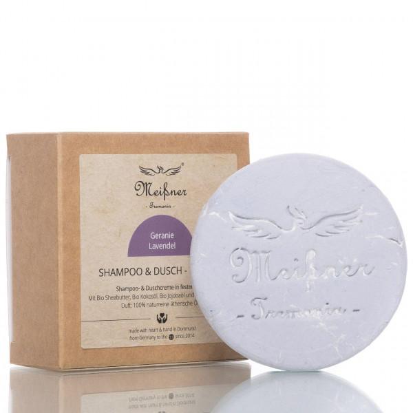 Meißner Tremonia Shampoo & Dusch-Nugget Geranie Lavendel 95g Frontalansicht vom Nugget und Verpackung
