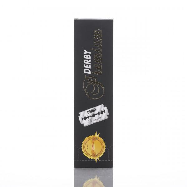 Derby 100er Pack Premium Black Rasierklingen für Rasierhobel Ansicht der Verpackung leicht schräg