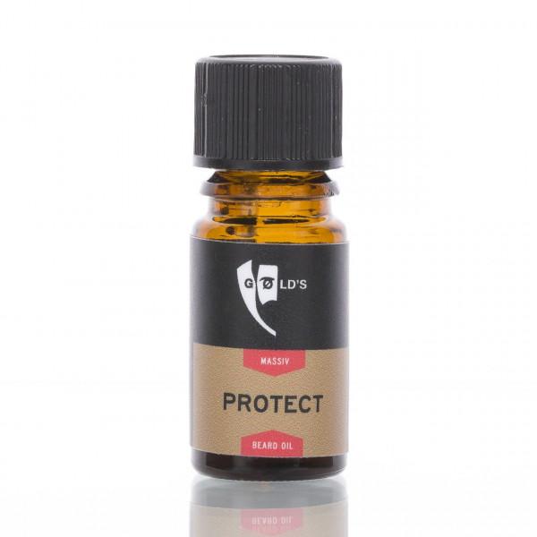 GØLD's Bartöl Protect Massiv Probe 3ml Frontalansicht der Flasche