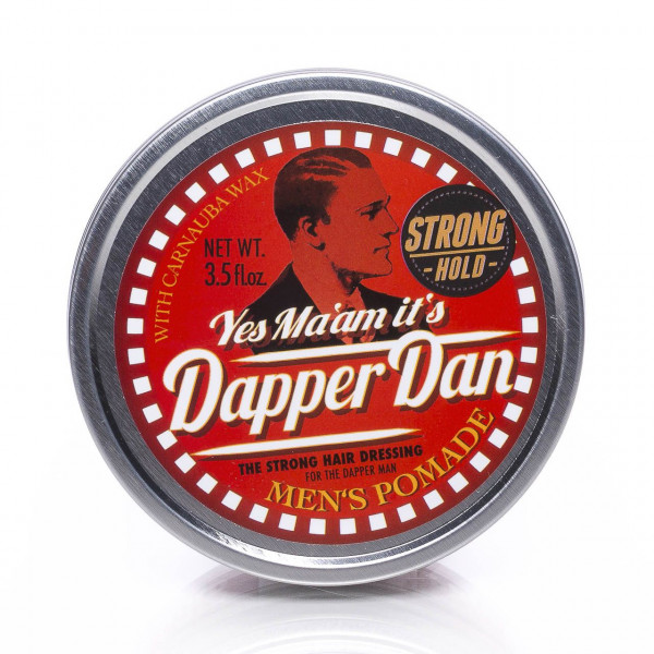 Dapper Dan Men's Pomade Strong Hold 100ml Frontalansicht der Dose