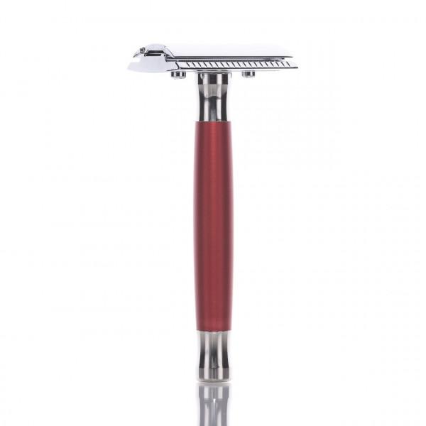 RMK Solingen Rasierhobel K2 mit rotem Griff, geschlossener Kamm, Double Edge 1