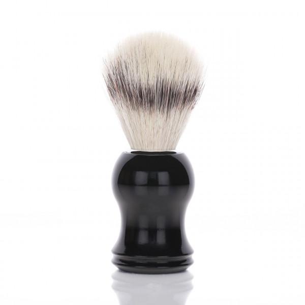 blackbeards Rasierpinsel mit geschwungenem Griff aus schwarzem Kunststoff, veganes Pinselhaar