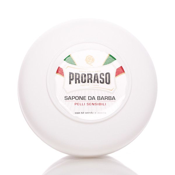 Proraso Rasierseife Sensitive in Schale 150ml. Frontalansicht der Dose.