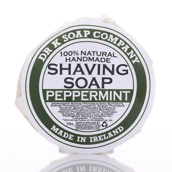 Dr K Soap Company Rasierseife Peppermint 70g Frontalansicht der Rasierseife