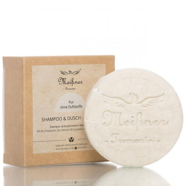 Meißner Tremonia Shampoo & Dusch-Nugget Pur 95g Frontalansicht vom Nugget und Verpackung