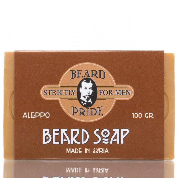 Beardpride Bartseife 100g Frontalanischt der Seife mit Verpackung