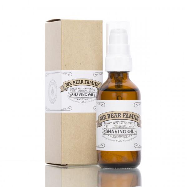 Mr. Bear Family Rasieröl 60ml Frontalansicht mit der Verpackung