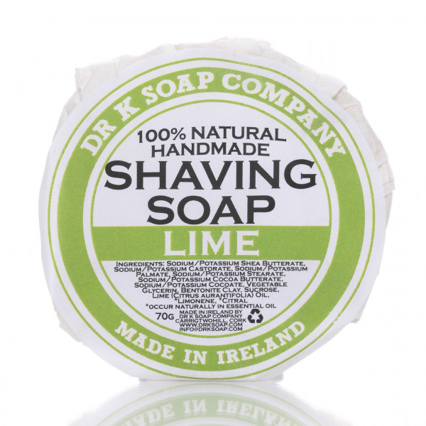 Dr K Soap Company Rasierseife Lime 70g Frontalansicht der Rasierseife