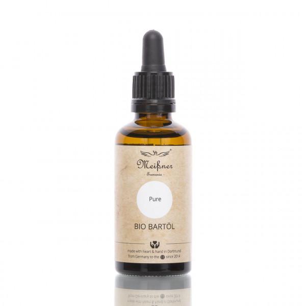 Meißner Tremonia Bio Rasier- und Bartöl Pure ohne Duftstoffe Frontalansicht der Flasche